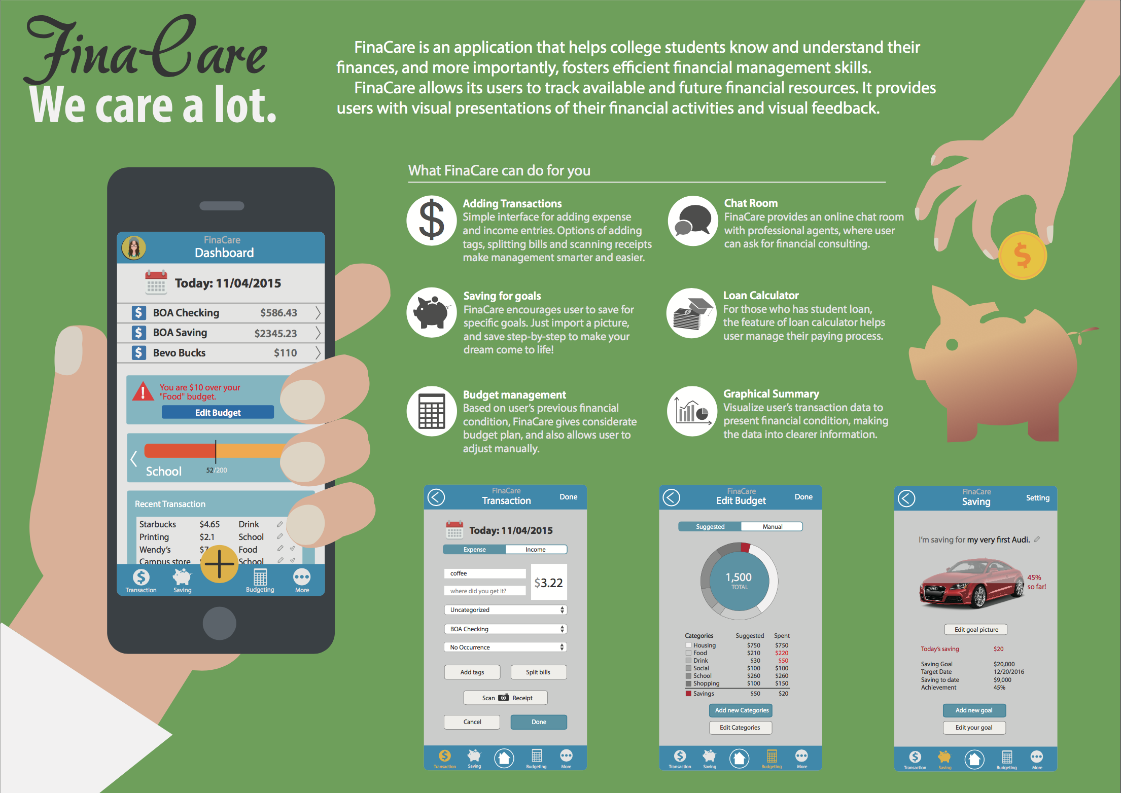 I made this poster with Illustrator to showcase the features of FinaCare 1.0 - see the 6 main features we designed for college students including saving for goals, chatroom for financial counseling, budget management, etc.The Axure prototype can be linked with this button. Try the interaction with FinaCare and see how can it help with your finances!