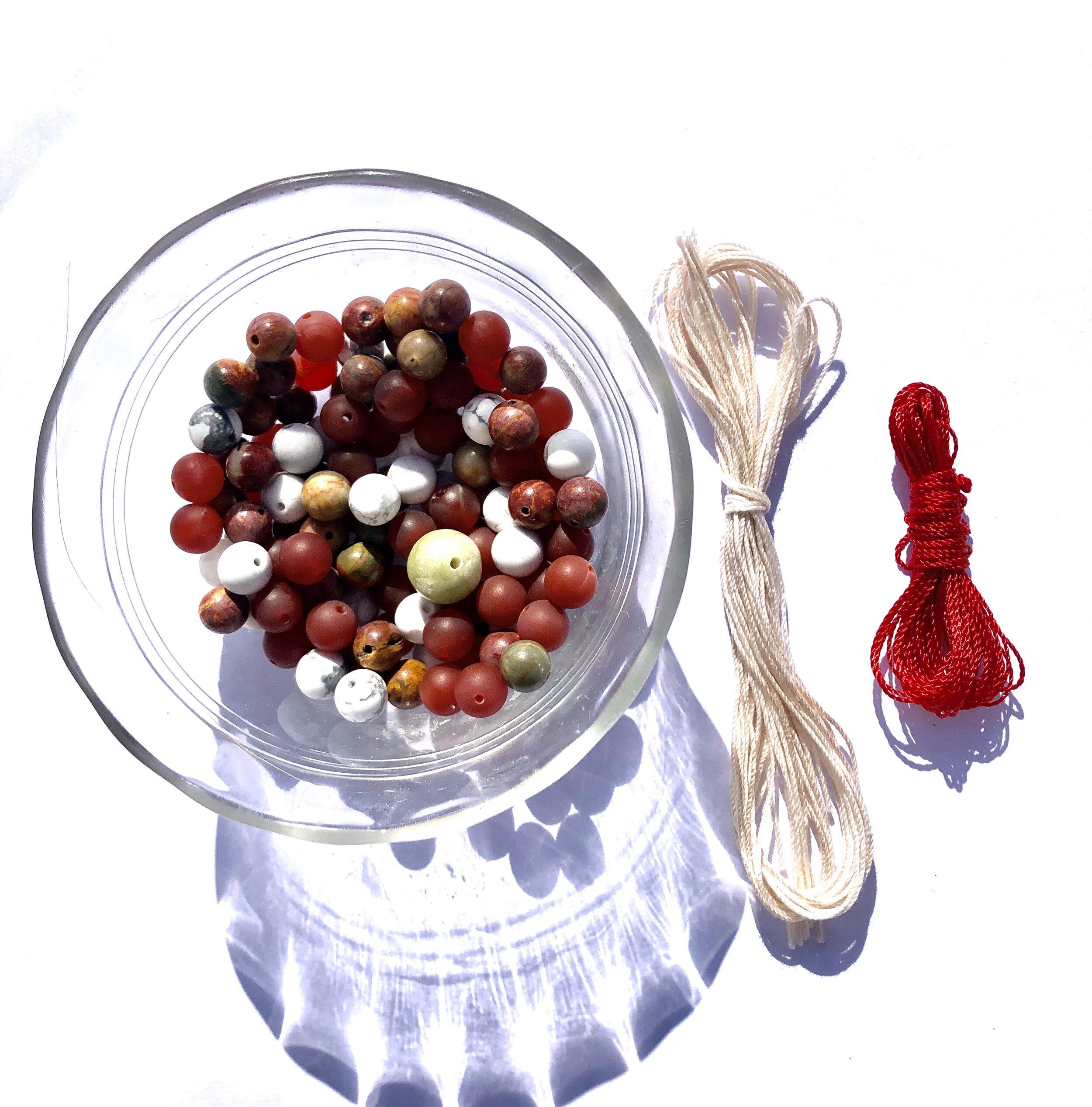 make your own high quality mala with red jasper elephant guru bead and sandalwood mala beads Elephant Mala Kit