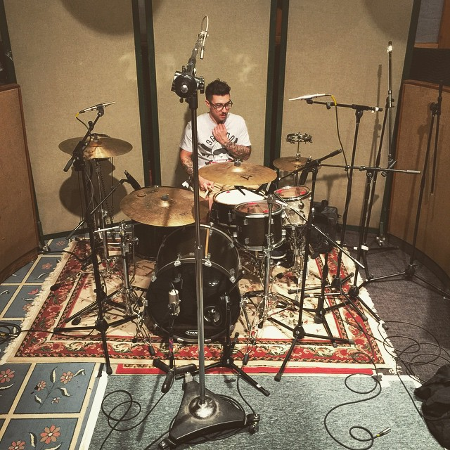 Dave getting ready to track some drums here at Applehead Studio. #throwingsnakes