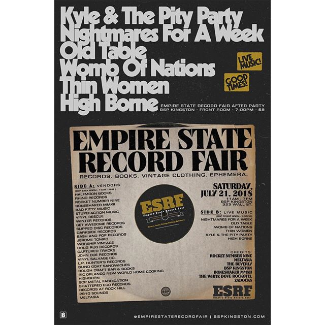 This SATURDAY catch Kyle & The Pity Party, Nightmares For A Week, and more at BSP Kingston for the Empire State Record Fair after party in the BSP front room. 7pm / $5.  #empirestaterecordfair #boneshakerrecords #kyleandthepityparty #nightmaresforaweek #bspkingston #kingstonny
