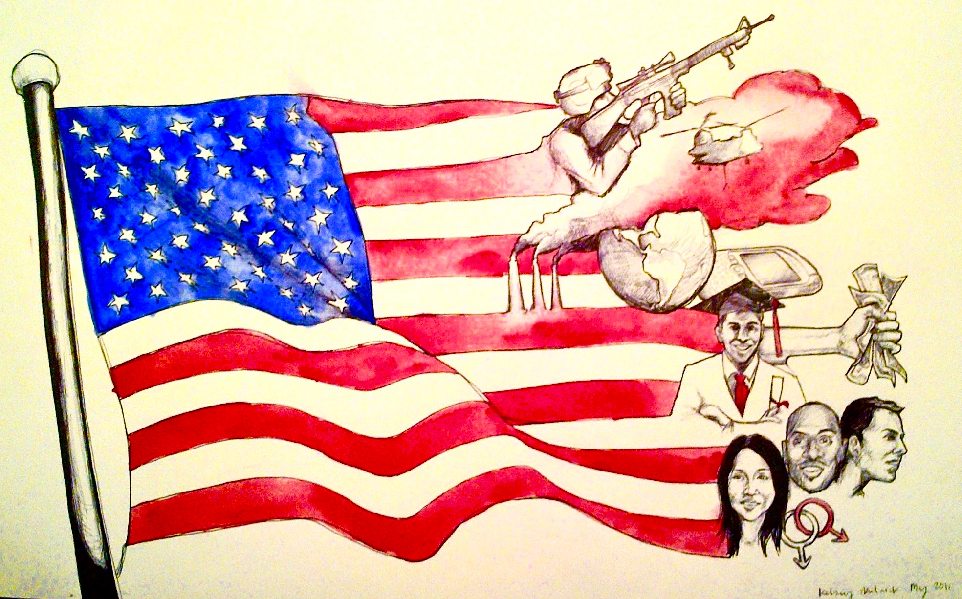 2011 Brief Perspective of America 2011, bic pen & watercolor