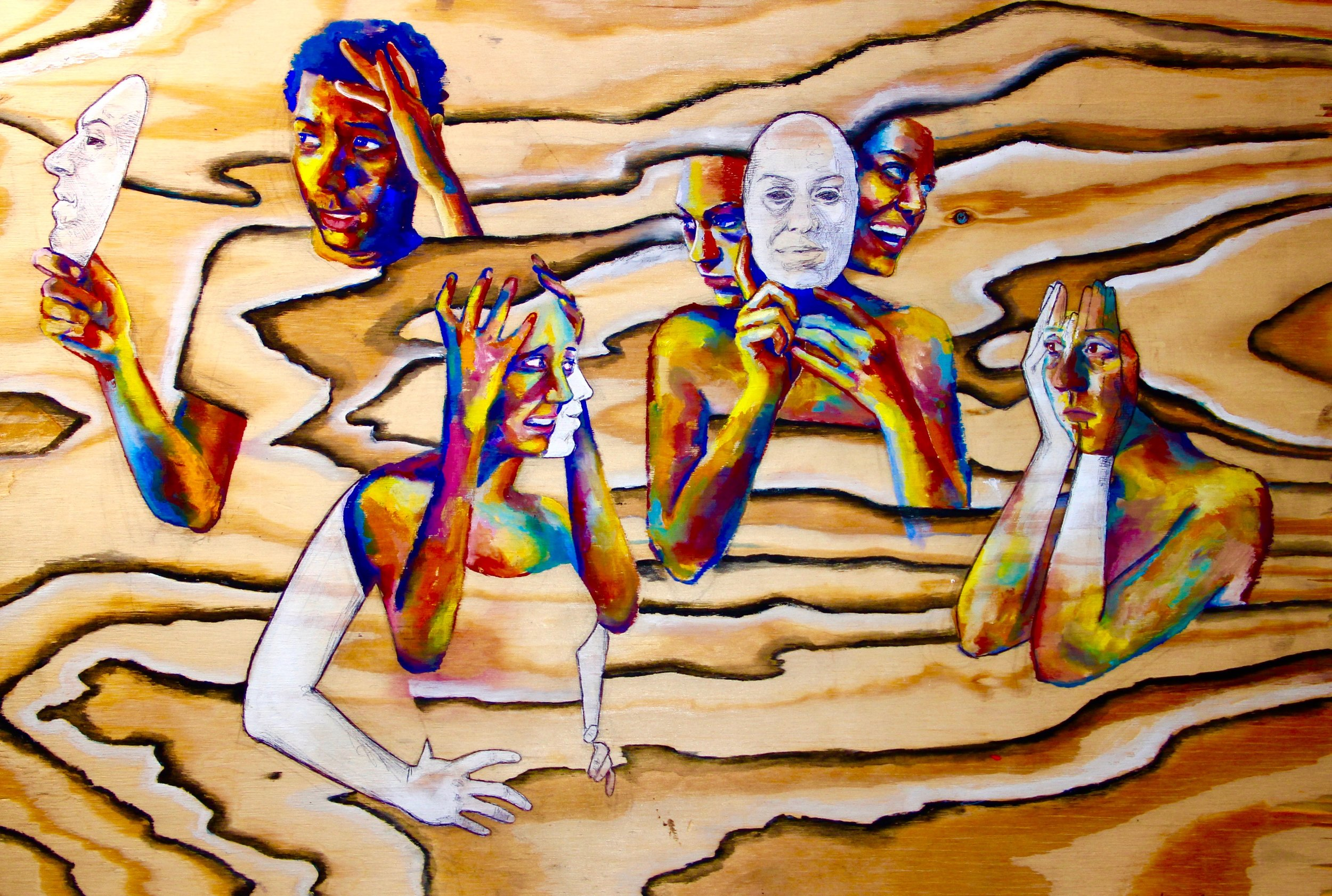 Shoudn't Disguise Mental Disorders 2015, gouache & bic pen on wood From left: PTSD, Schizophrenia, Bipolar, Depression