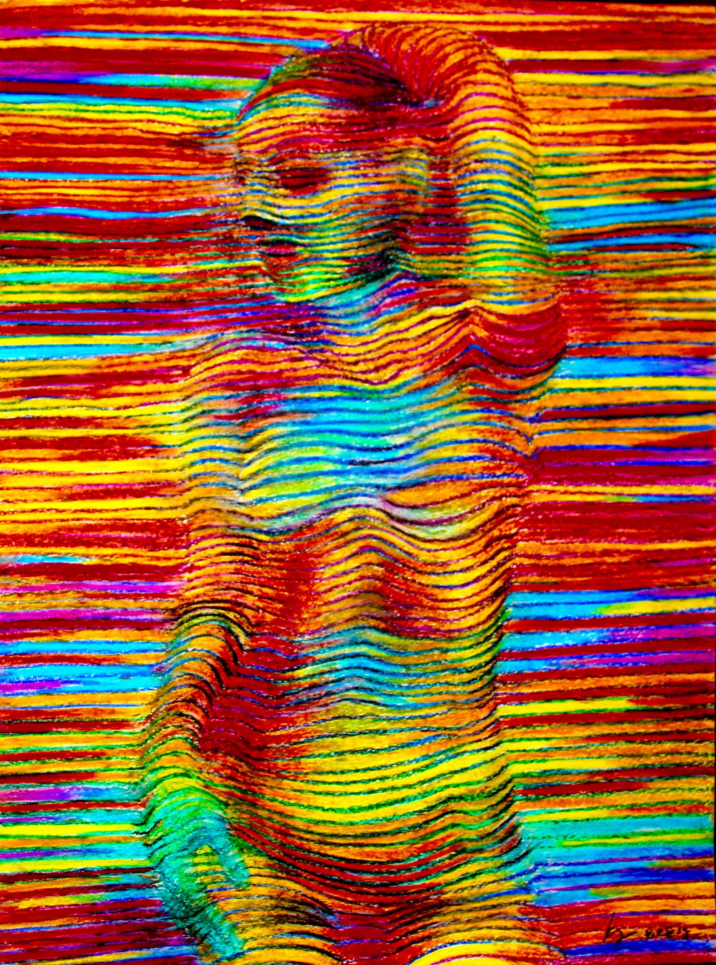 Linear Figure 2014, oil pastels