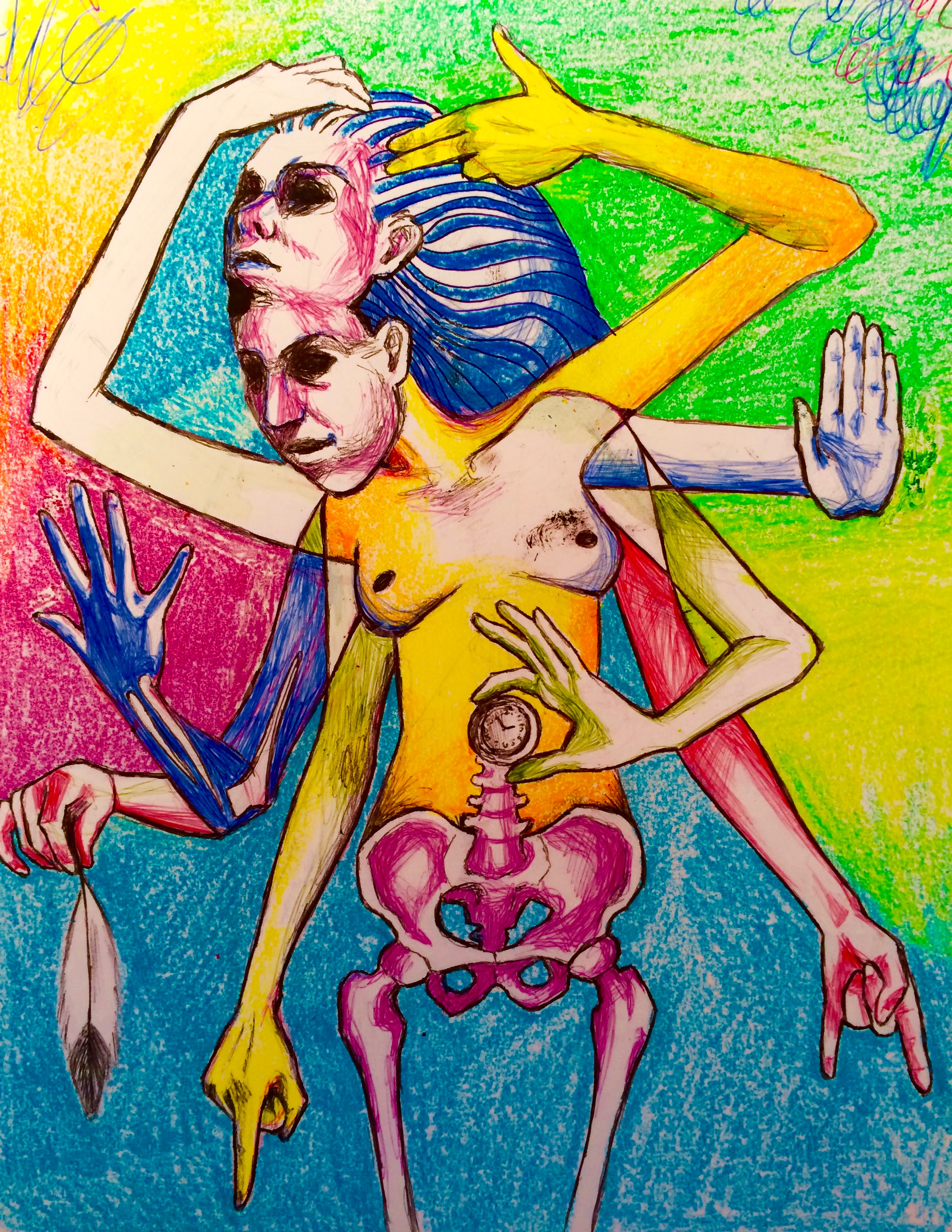 Untitled 2015, multicolored pen & crayons