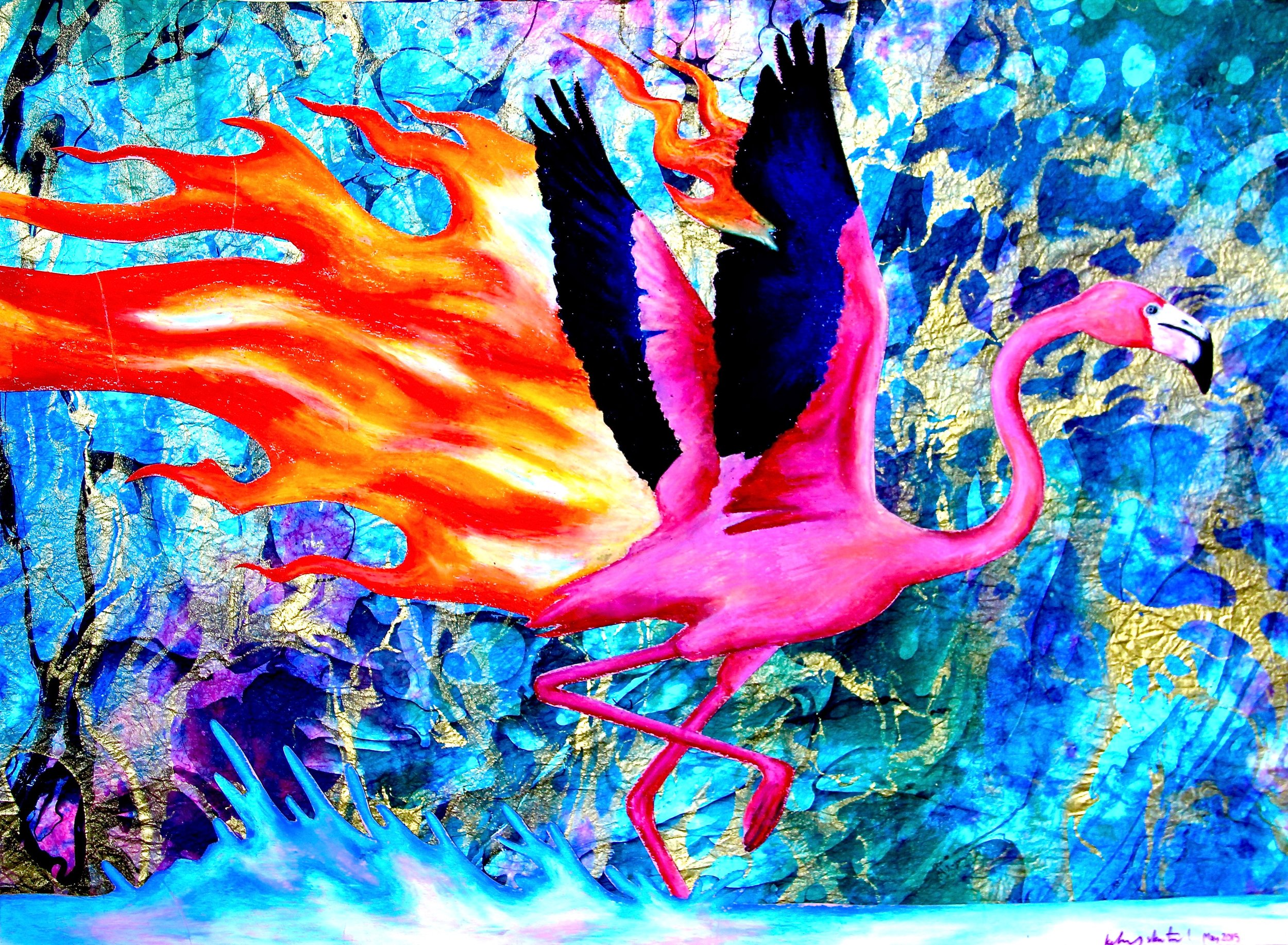 Flaming-o 2014, oil pastels & craft paper
