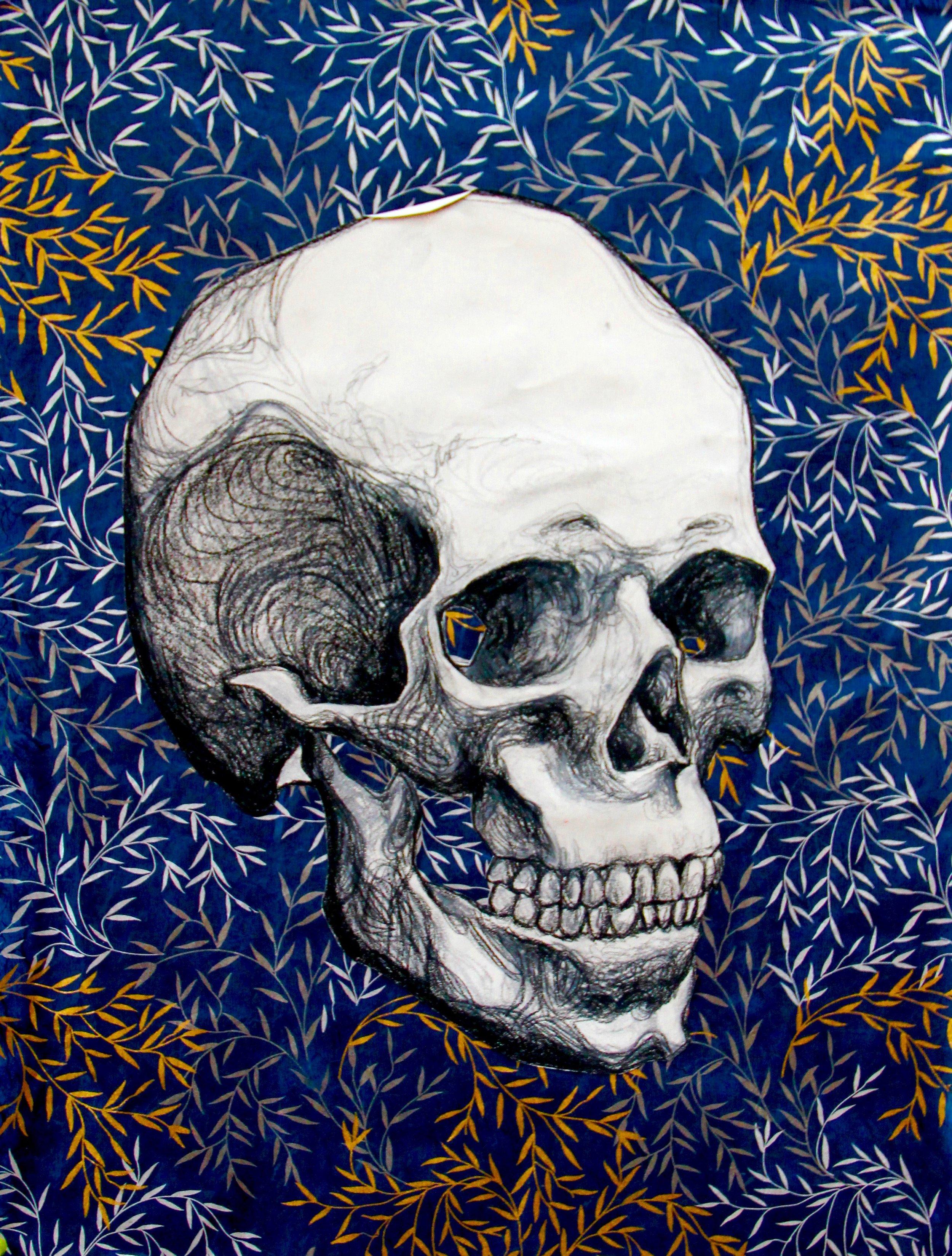 Skull 2012 & 2014, conte crayon & craft paper