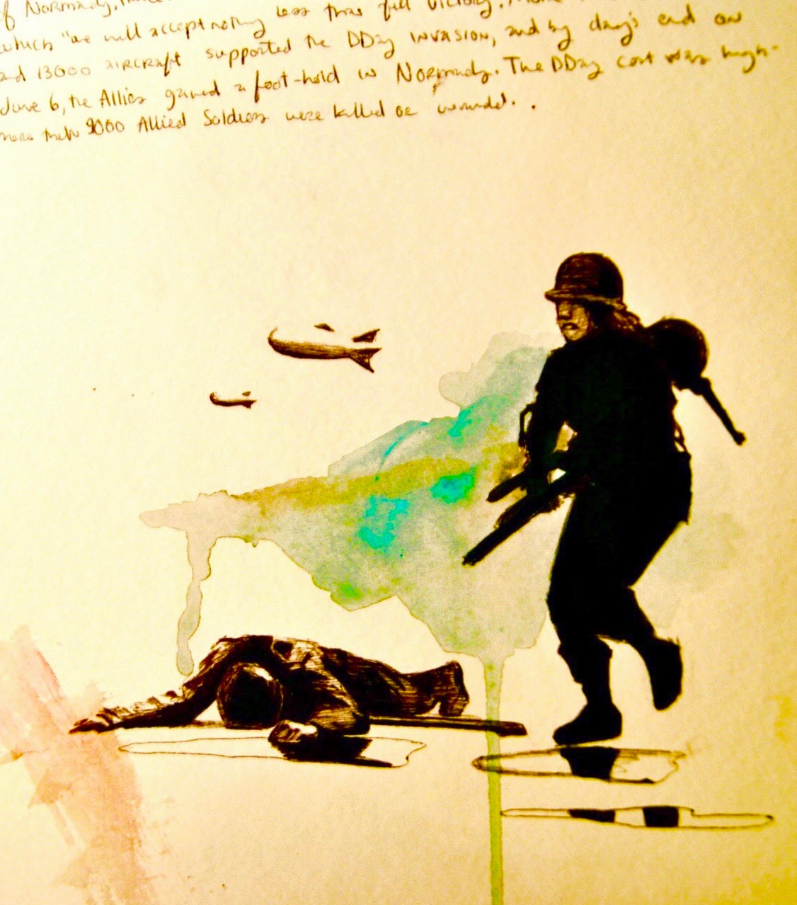 WWII 4/5   2010, bic pen, sharpie & watercolor