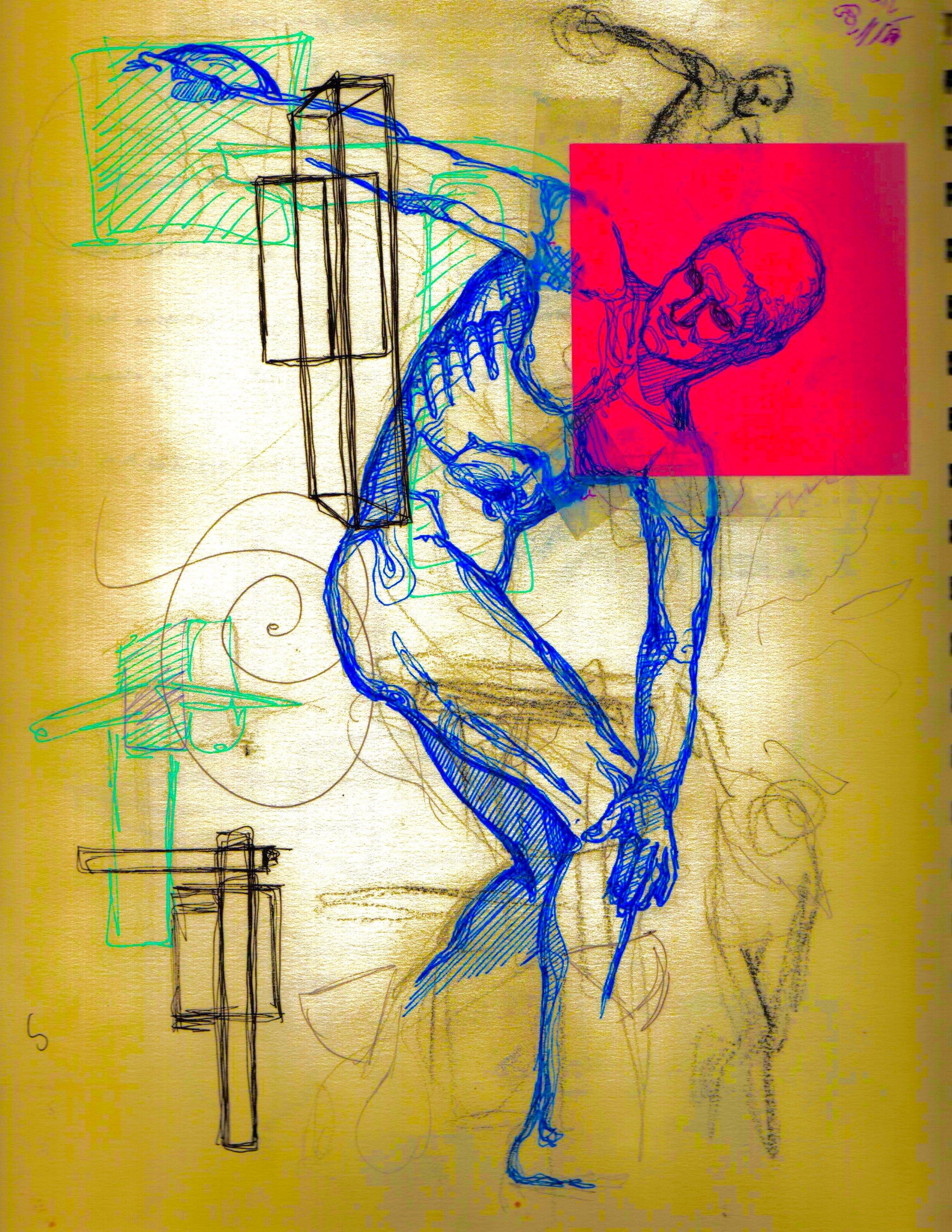 Hellenistic 2011, pencil, bic pen, green pen, blue ink, post-it & digital edit