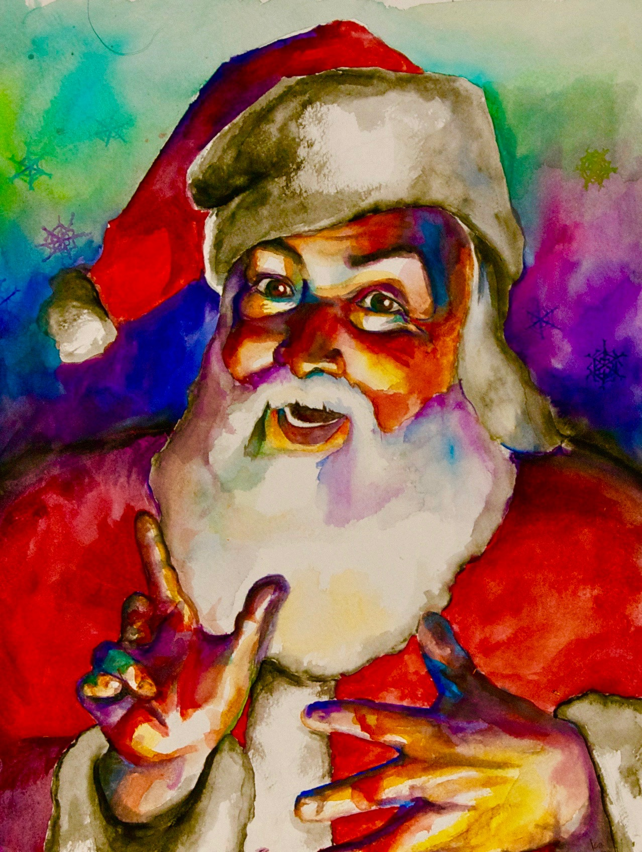 Santa 2009, watercolor