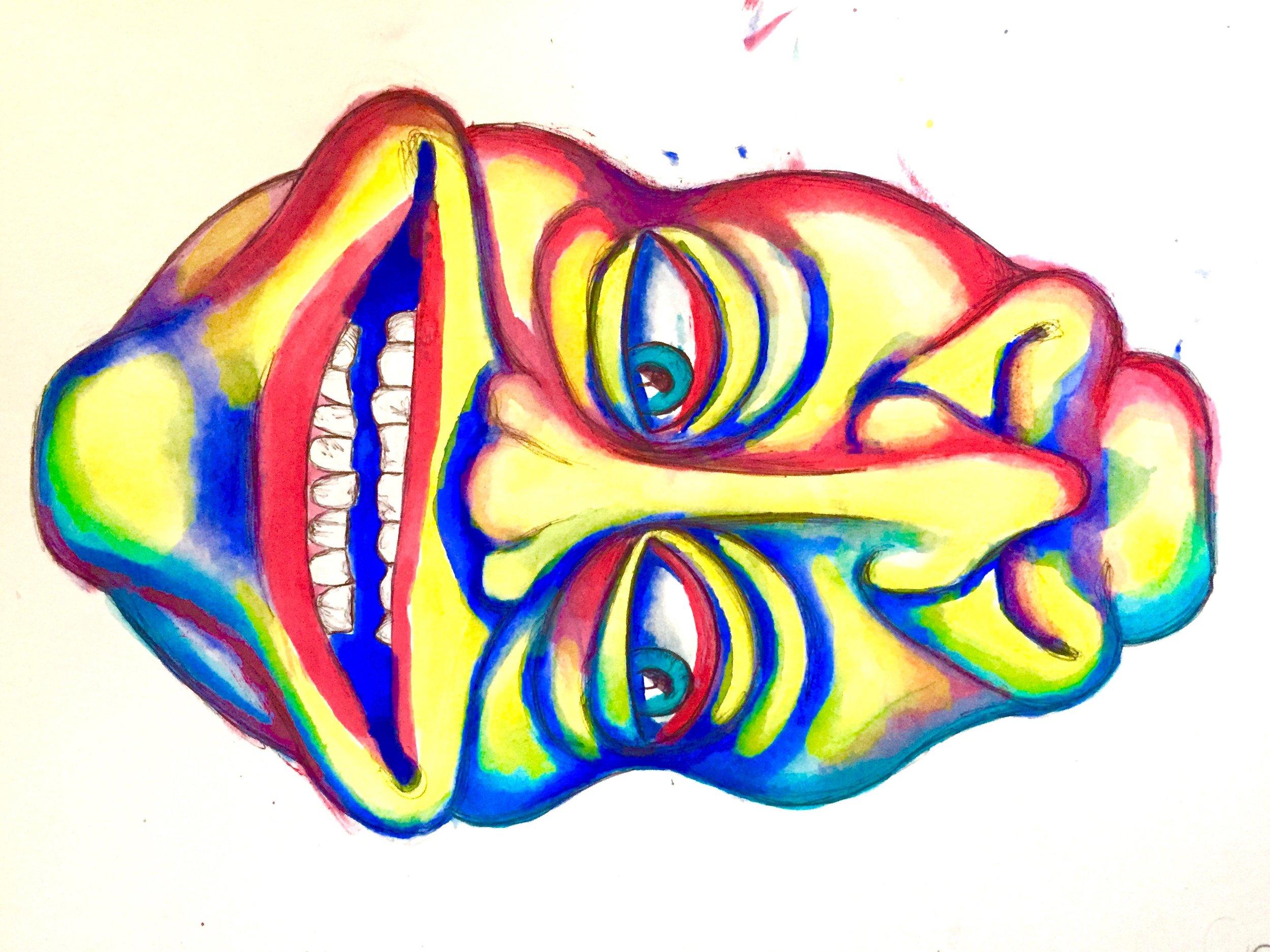Duplex Faces 2016, pen & watercolor