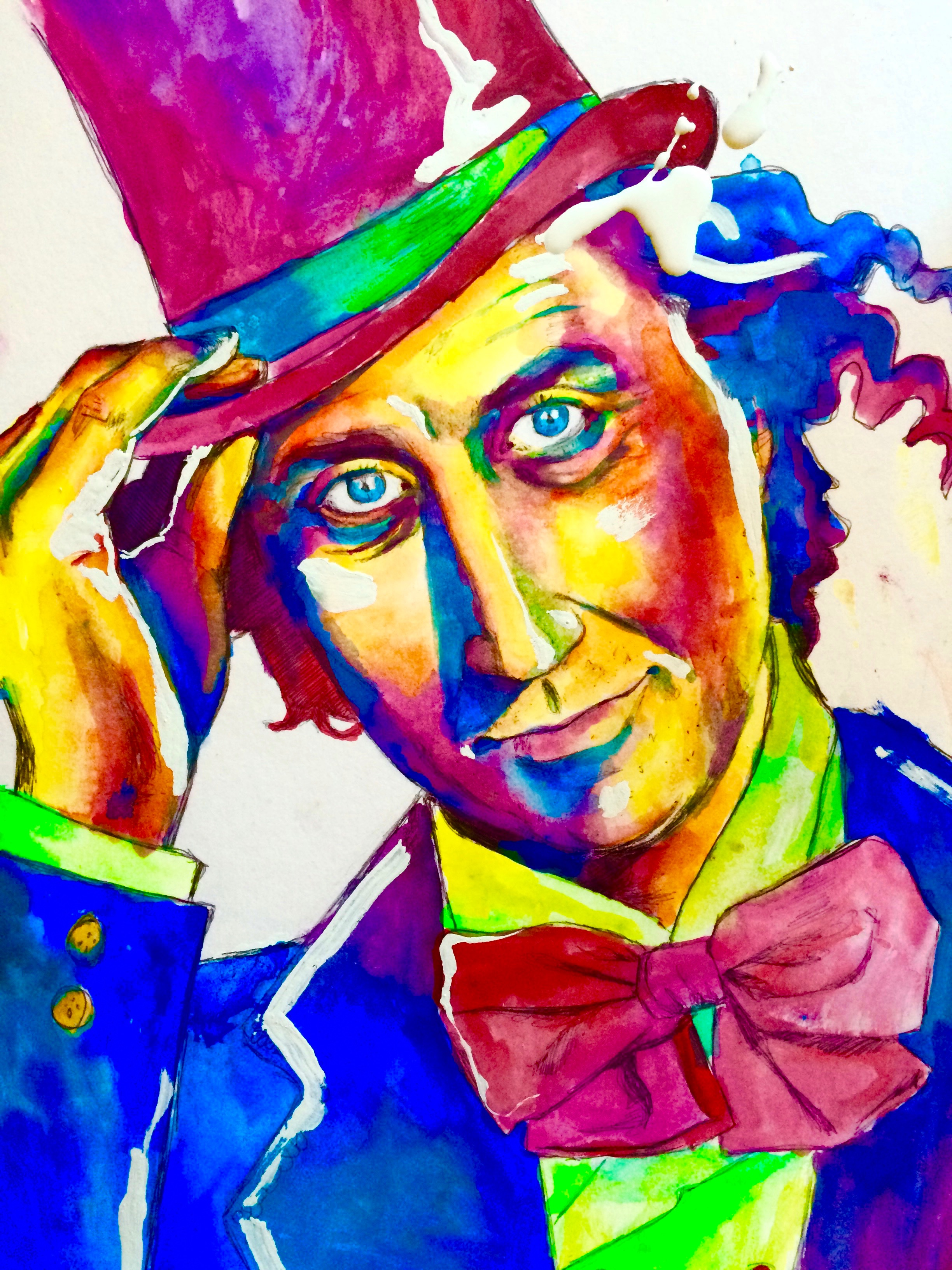 Gene Wilder RIP August 29th, 2016, big pen, watercolor & white-out