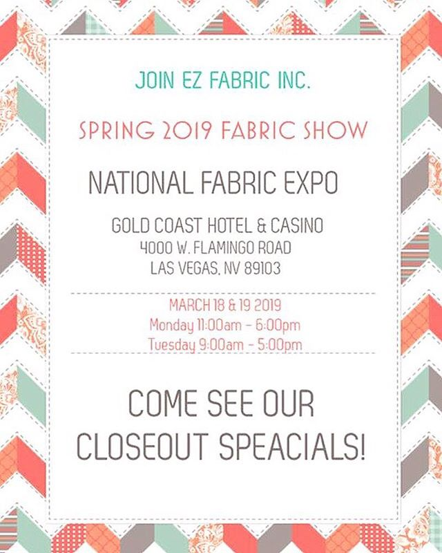 Join us!!! March 18 & 19 at the National fabric expo in Vegas! 🧵♥️🎰🎲 #minky#minkyfabric#fauxfurs#fabricexpo #nationalfabricexpo#interiordesign#shop#shopping#closeouts#minkyblanket #project #quilting #lasvegas #fabric #polyester #goldcoastcasino #zincksfabricoutlet #quilter #quiltsofinstagram #quilt #snuggle #comfy