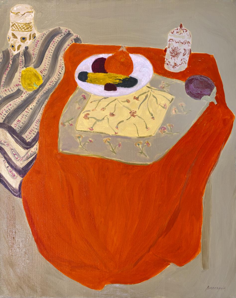 Le potimaron et le pot tibétain, oil on canvas, 36 x 28 in