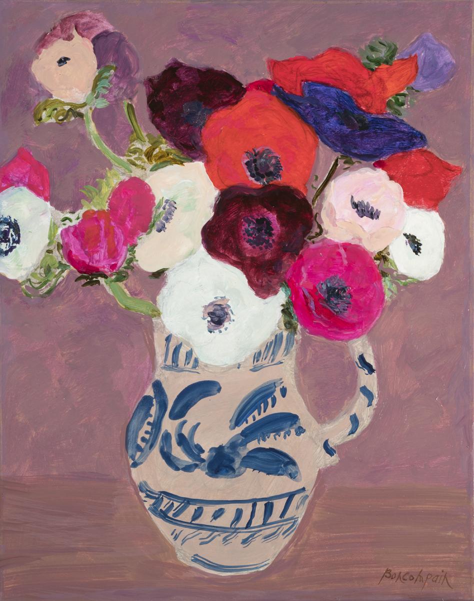 Petit bouquet d'anémones, oil on canvas, 14 x 11 in