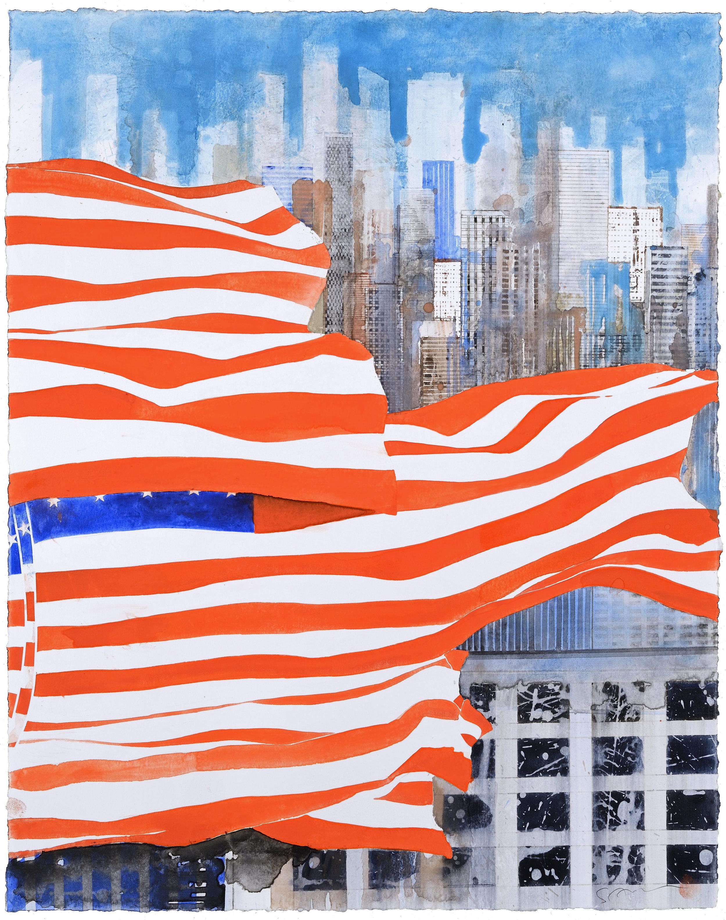 US Flag III, watercolor, 61 x 48 cm, 24 x 19 in, 2015