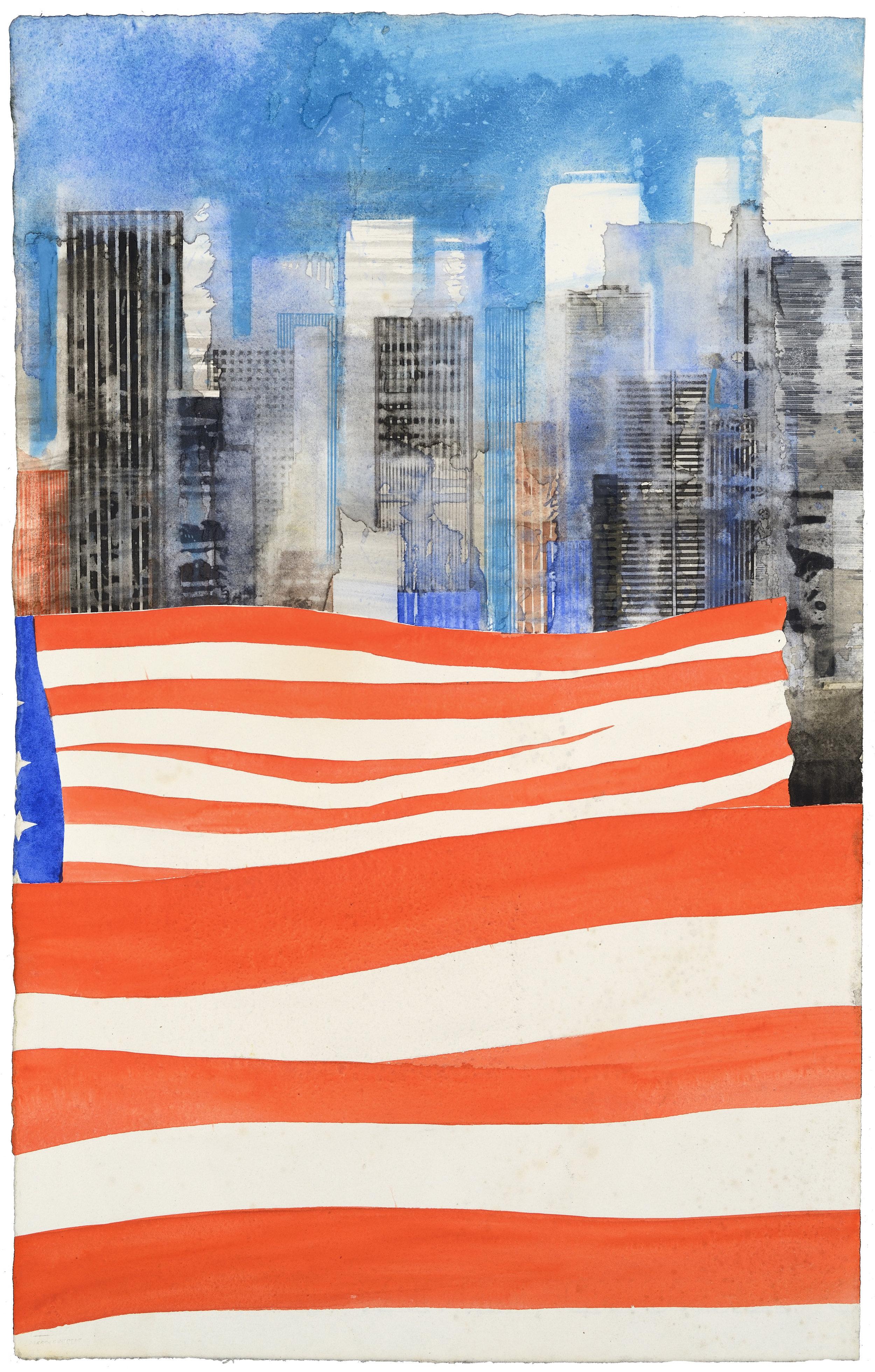 US Flag V, watercolor, 51 x 31 cm, 20 x 12 in, 2015