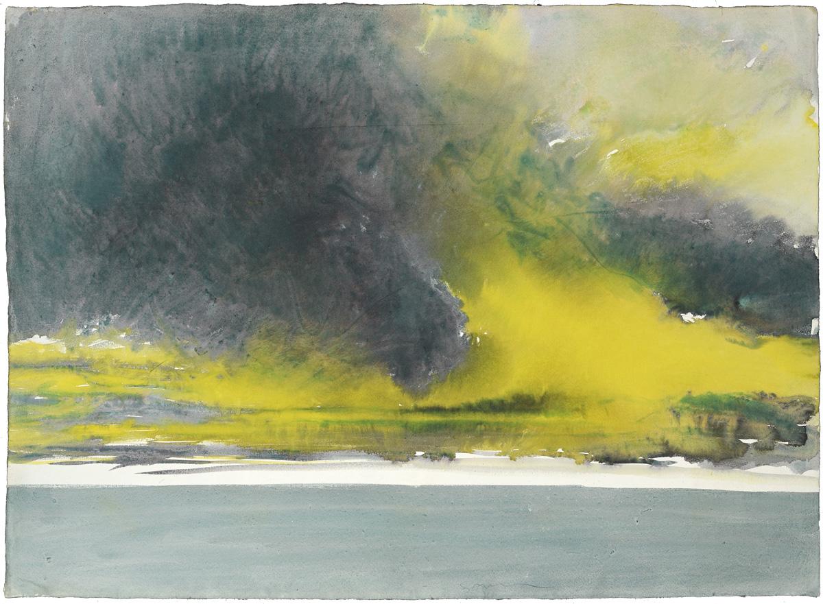 Yellow-purple Sky, watercolor, 56 x 79 cm, 22 x 31 in, 1973