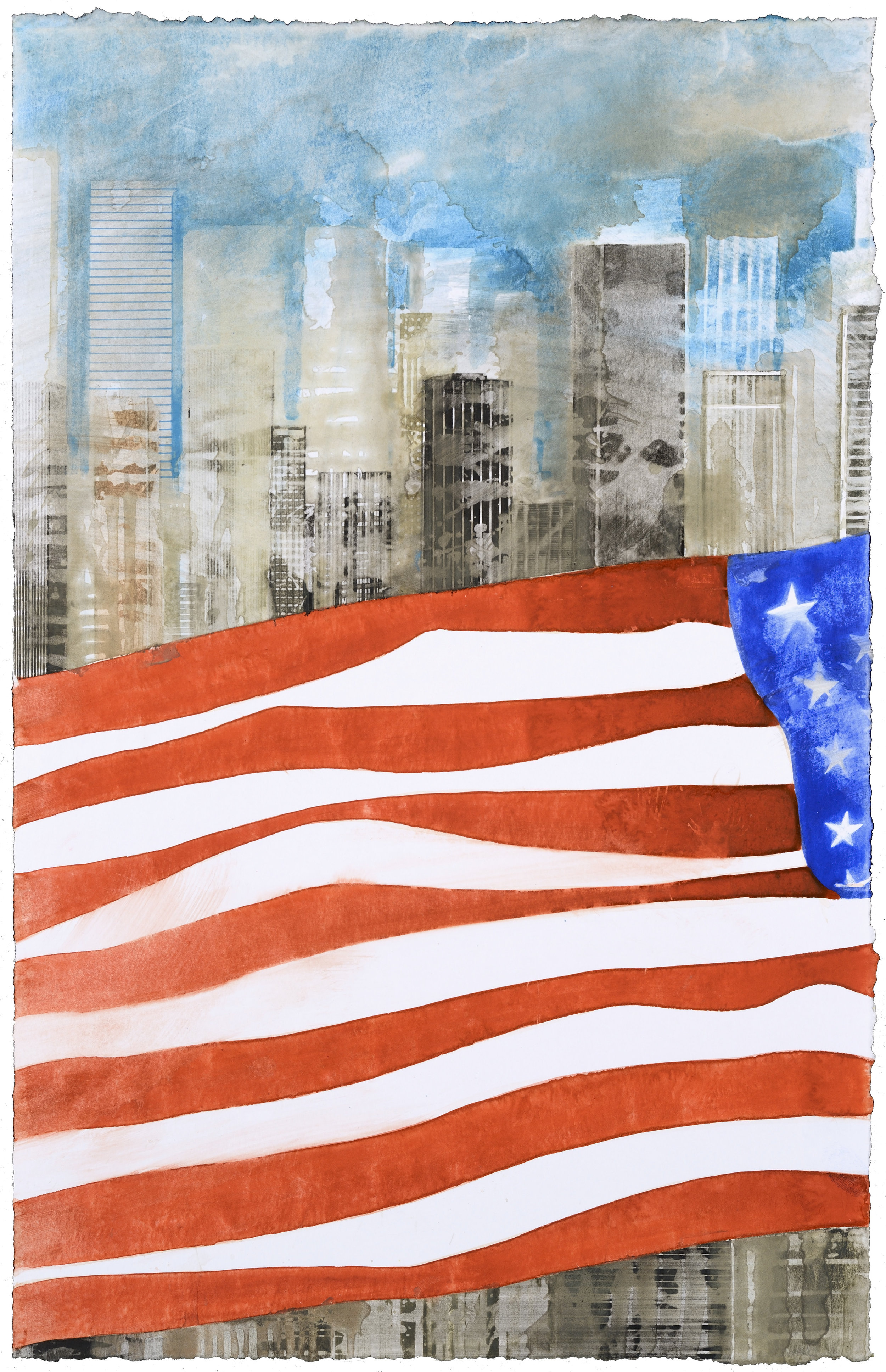 US Flag VI, watercolor, 48 x 30 cm, 19 x 12 in, 2015