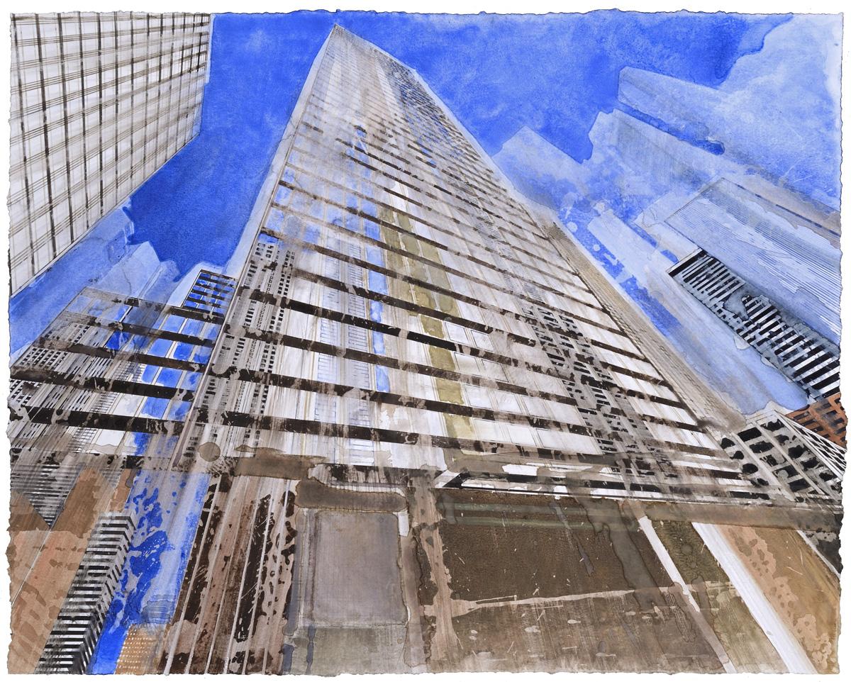 Hans Guck in die luft in New York I, watercolor, 48 x 61 cm, 19 x 24 in, 2016