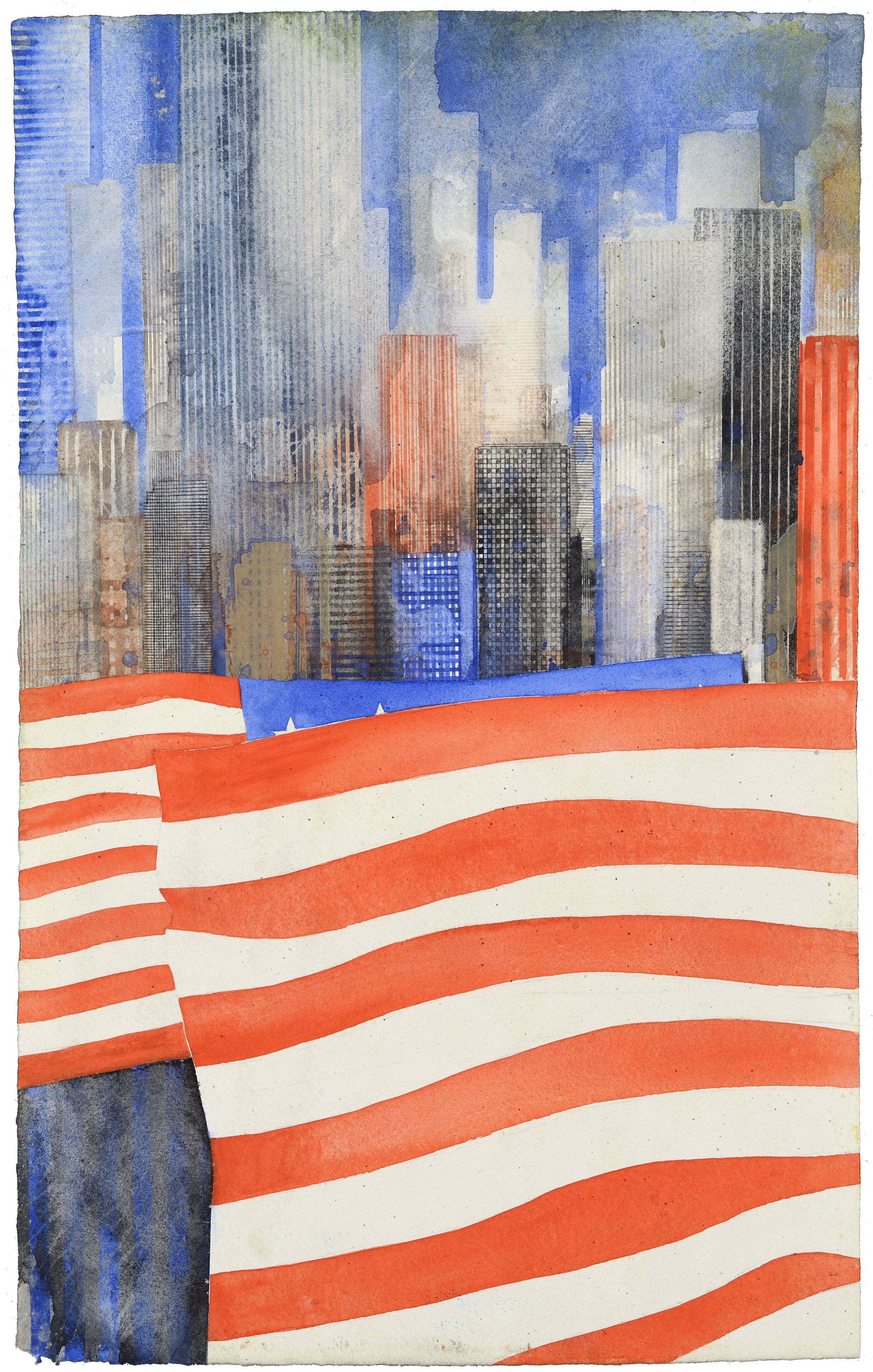 US Flag VII, watercolor, 48 x 30 cm, 19 x 12 in, 2015