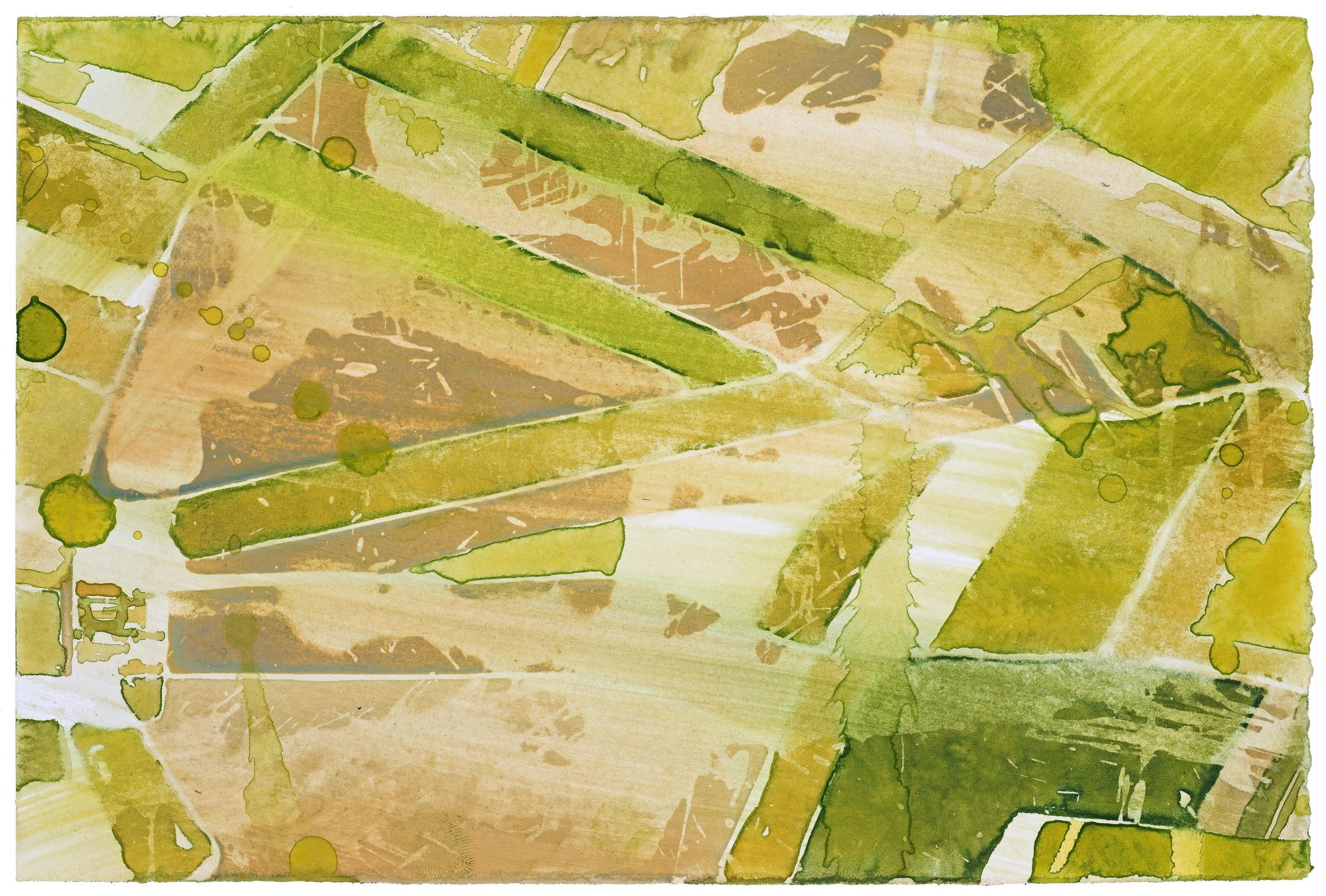 Flight AF 6207, IV,  watercolor, 15 x 25 cm, 6 x 10 in, 2015