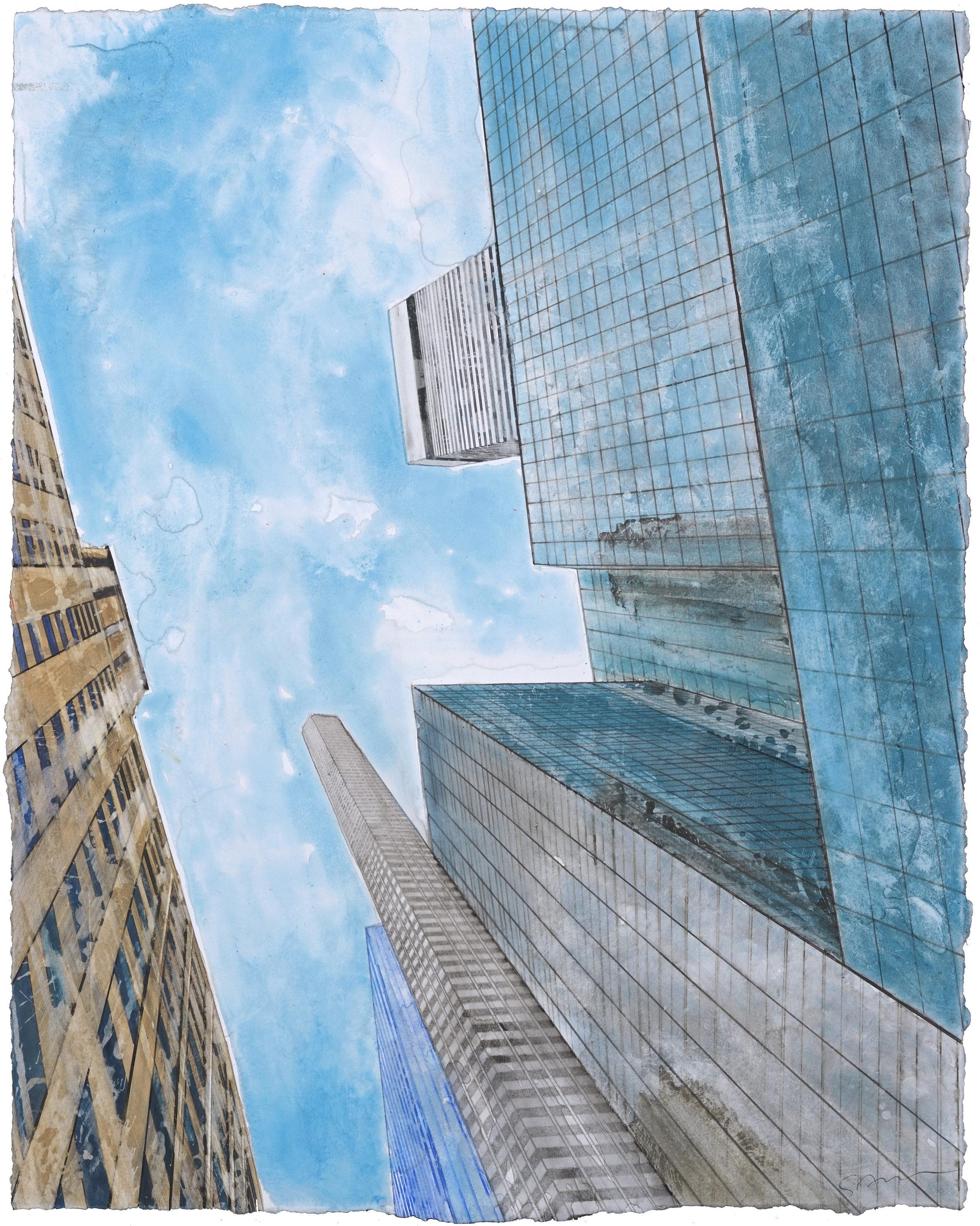 Hans Guck in die luft in New York II, watercolor, 61 x 48 cm, 24 x 19 in, 2016