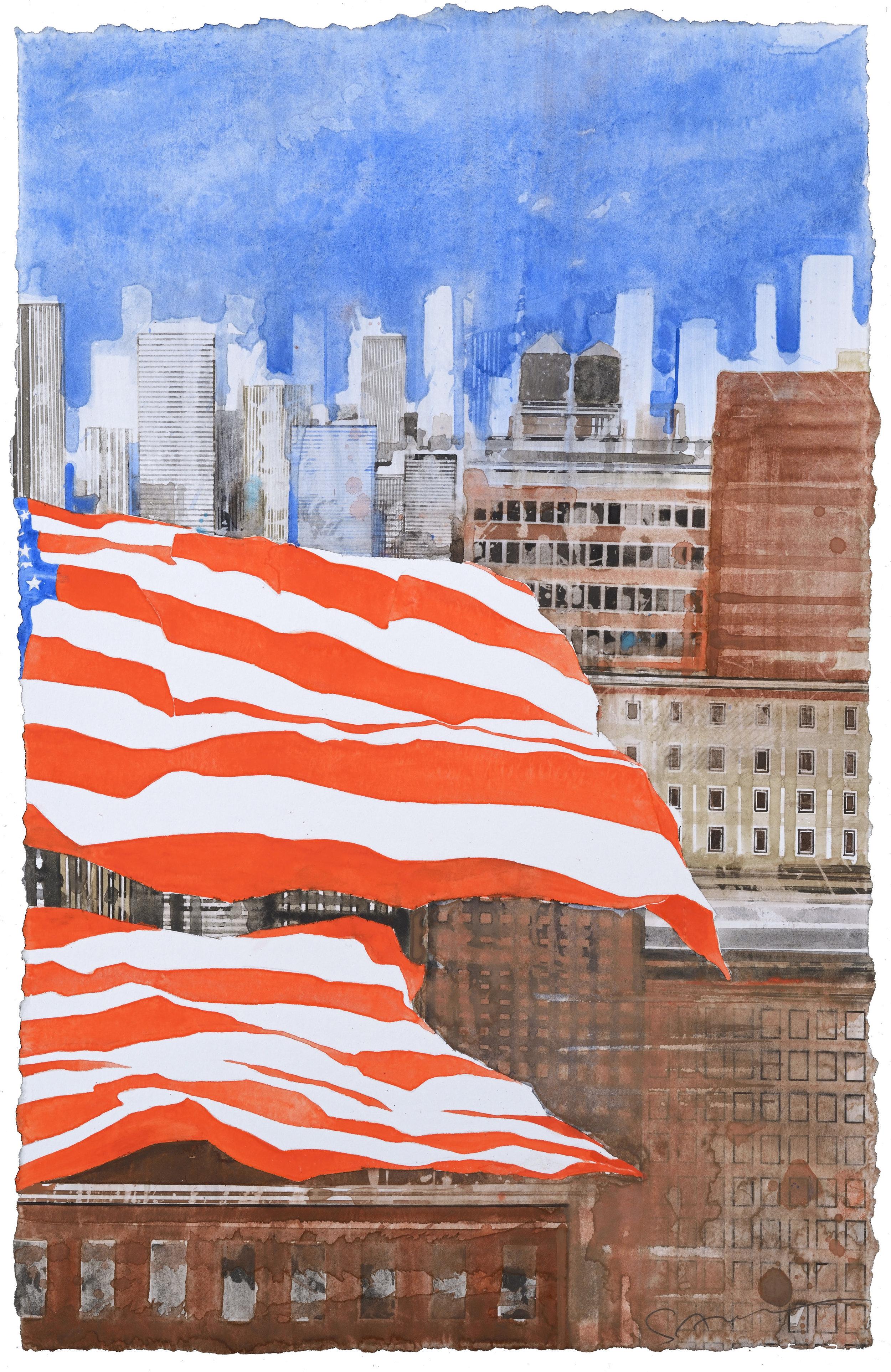 US Flag IX, watercolor, 48 x 30 cm, 19 x 12 in, 2016