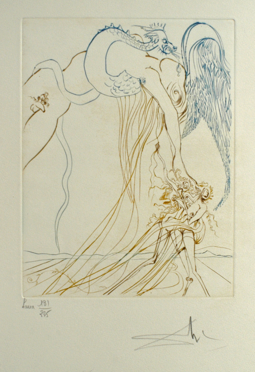 Paradise Lost: La Tentation, 10.6 x 8.3 in, Drpoint in color, 1974