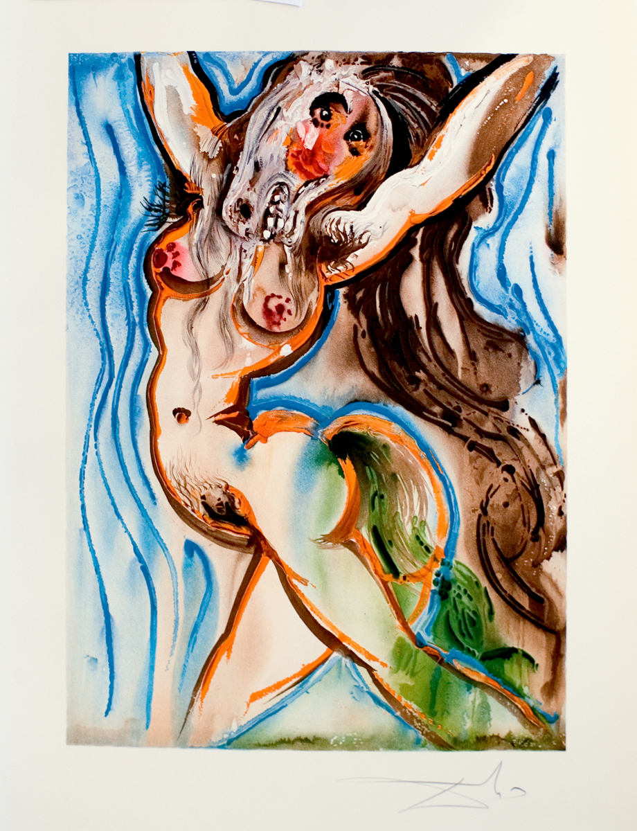 Les Chevaux Daliniens: Le Femme-cheval, 20 x 26 in, Color Lithograph with Embossing, 1970-72