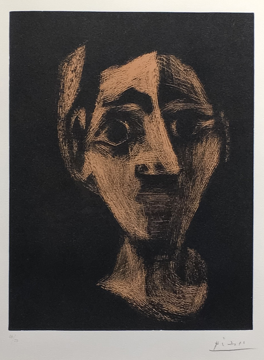 Visage (Jacqueline au bandeau), Linocut, 24 x 17.5 in, Signed, 1964,  (edition of 50)