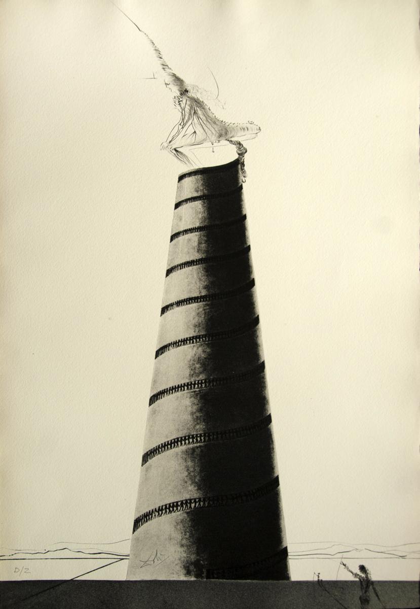 Dix Recettes d' imortalite Zootrope et Tour Boullée, 1973, Engraving, 22.5 x 15.5in, Signed