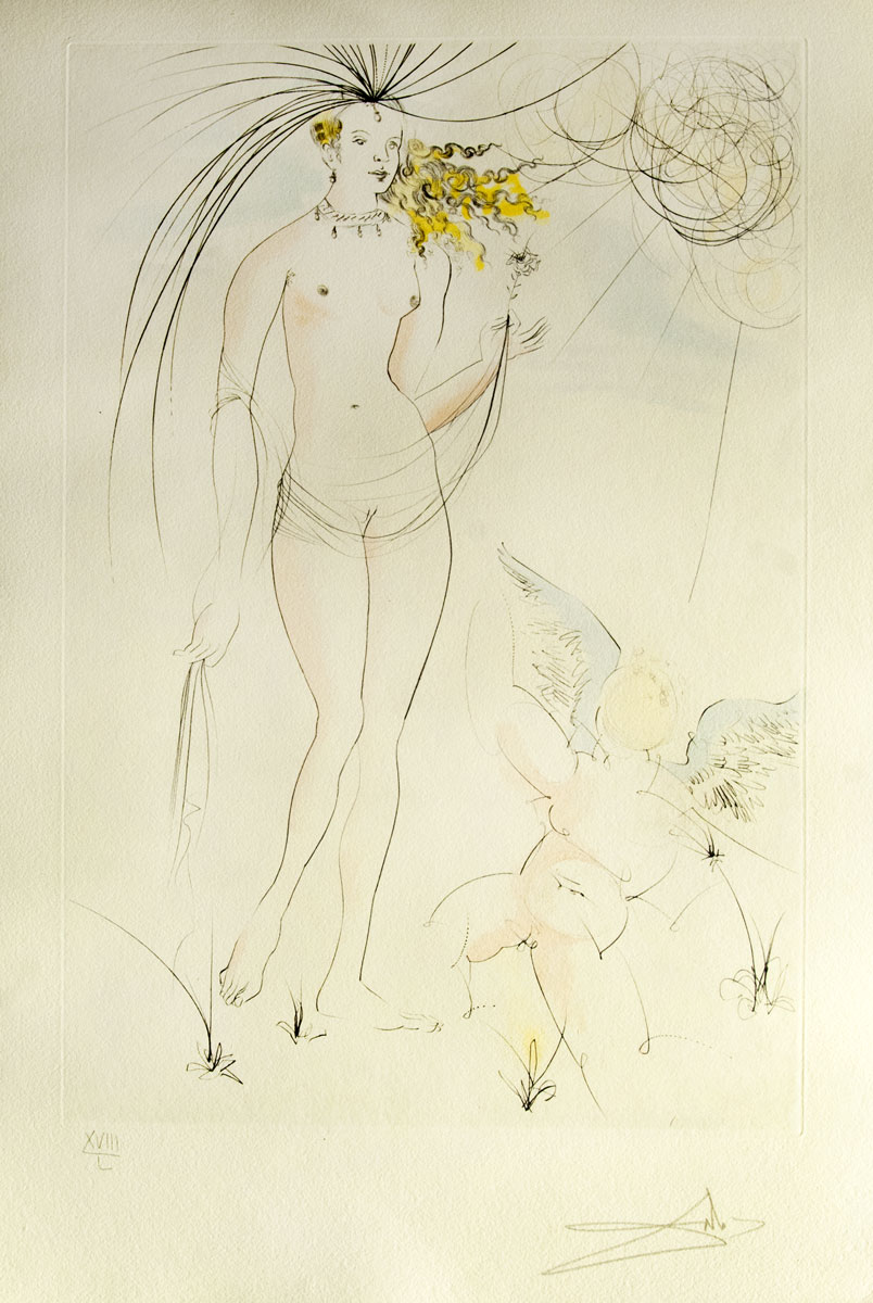 Vénus et l'amour, 1971, Etching and color stencil, 30.8 x 22.7  in, Signed , XVIII/L M.L. 483