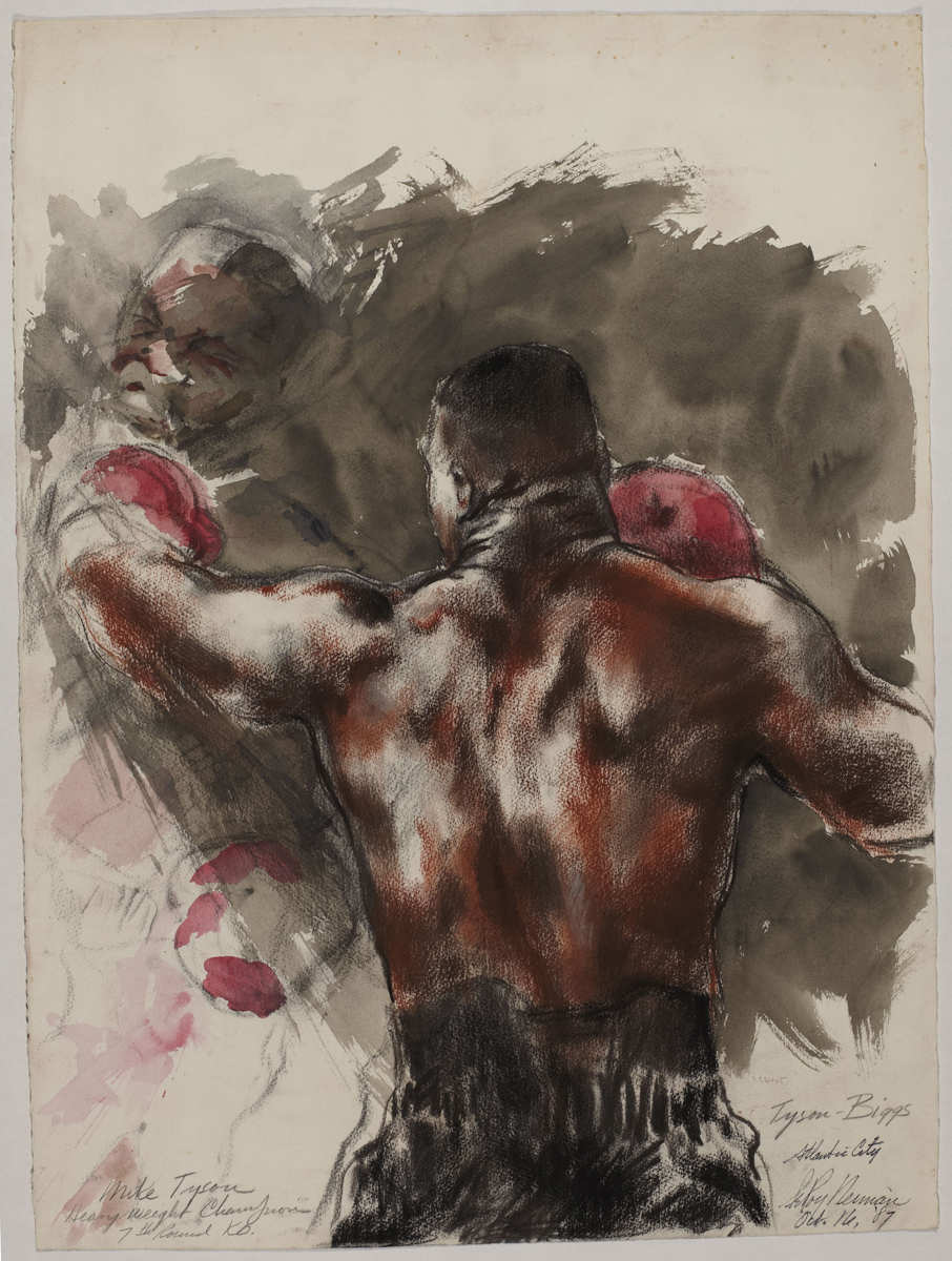 Mike Tyson during the Tyson vs Biggs Fight, Atlantic City, 7th Round, mixed media on paper, 30 x 22 in, 1987