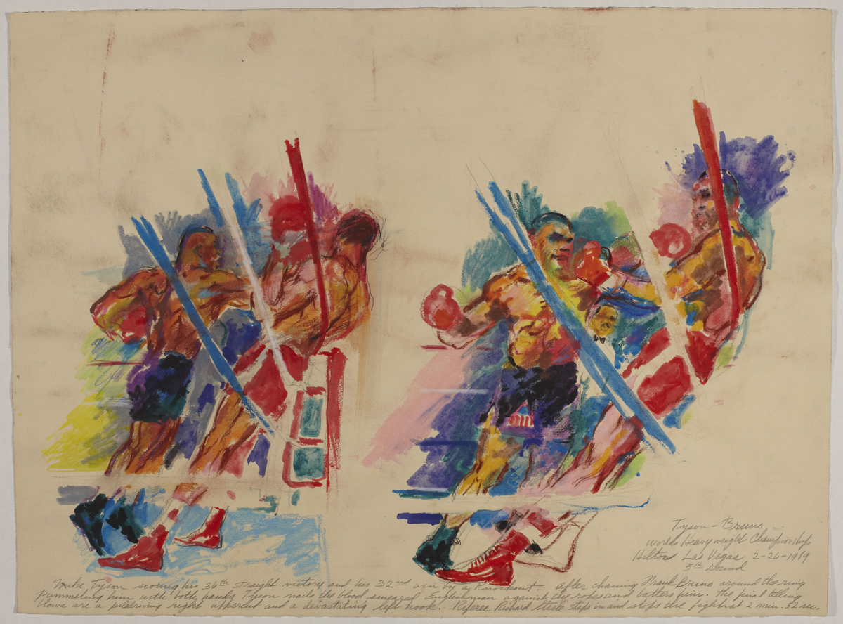 Tyson vs Bruno, 5th Round, mixed media on paper, 22 x 30 in, 1989