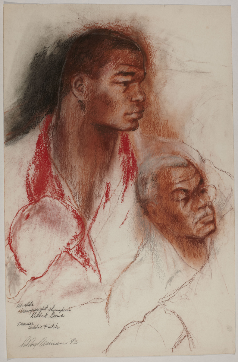 Riddick Bowe with Eddie Futch, mixed media on paper, 37 x 24 in, 1993