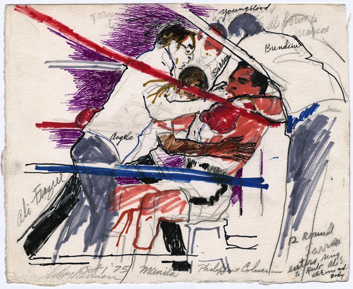 Ali vs Frazier in Manila, mixed media on paper, 12 x 14.75 in, 1975