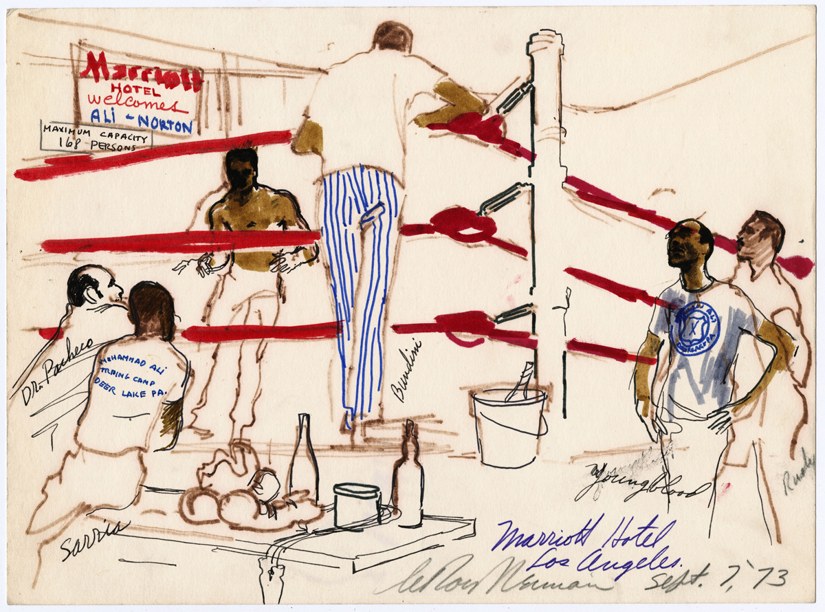 Ali Shadowboxing at the Marriott Hotel, LA, mixed media on paper,  9.5 x 13 in, 1973