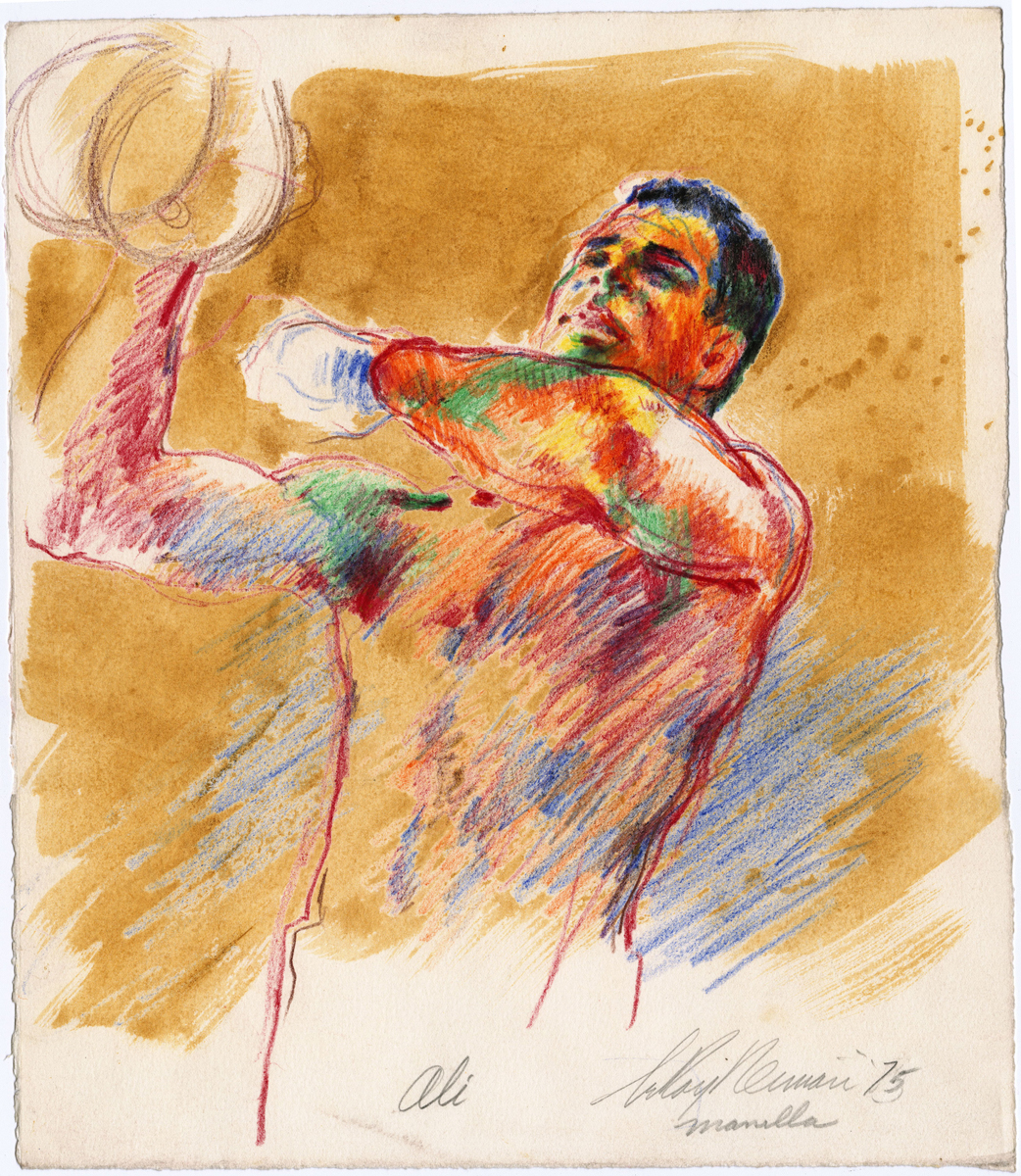Ali on speed bag in Manilla, mixed media on paper, 15 x 13 in, 1975