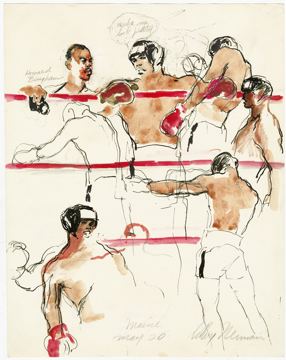 Ali in ring in Manilla, mixed media on paper, 14.5 x 11.25 in,  1975