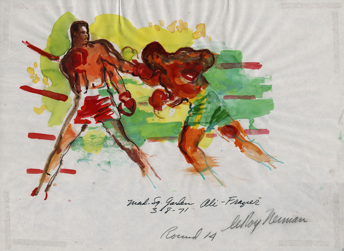 Round 14, Ali vs Frazier at Madison Square Garden, mixed media on paper, 12 X 16 in, 1971