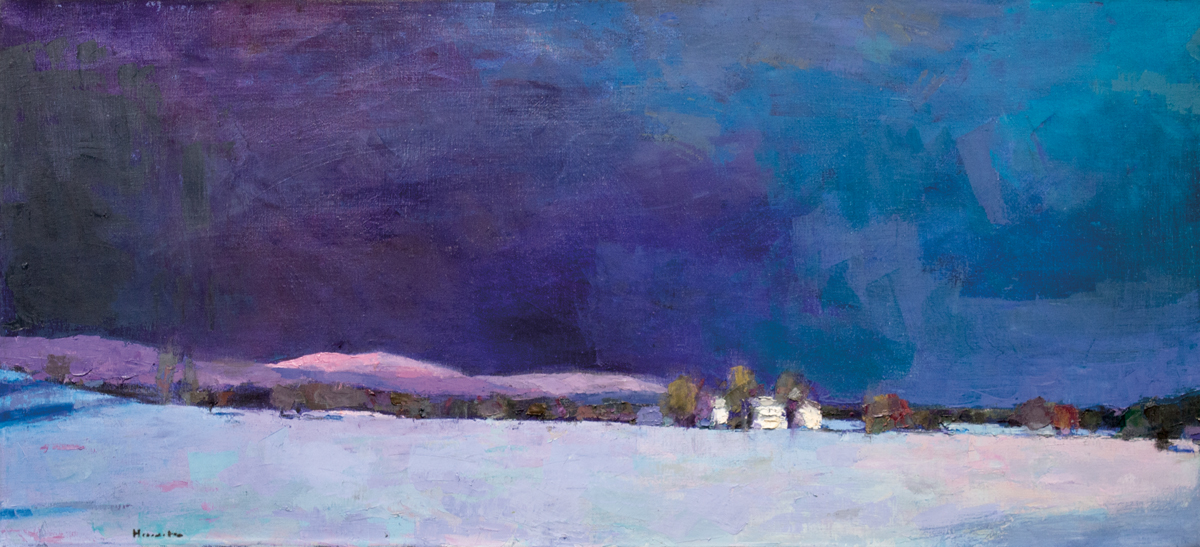Winter Evening, Oil on Canvas, 23 x 50 in (52 x 112 cm), 2016