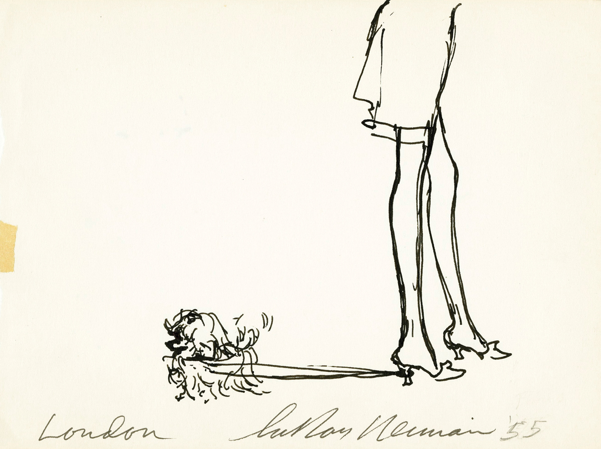 SOLD Dog Walking Her Owner in London, Ink on Paper, 5 x 6.75 in, 1955