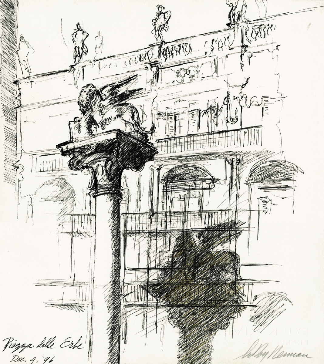 Piazza delle Erbe, Ink on paper, 15 x 13.5 in, 1996