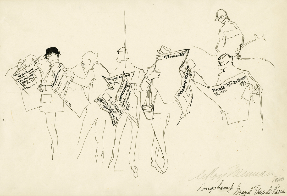 SOLD Newspaper Readers at Longchamp, Grand Prix de Paris, Ink on Paper, 9 x 13 in, 1960