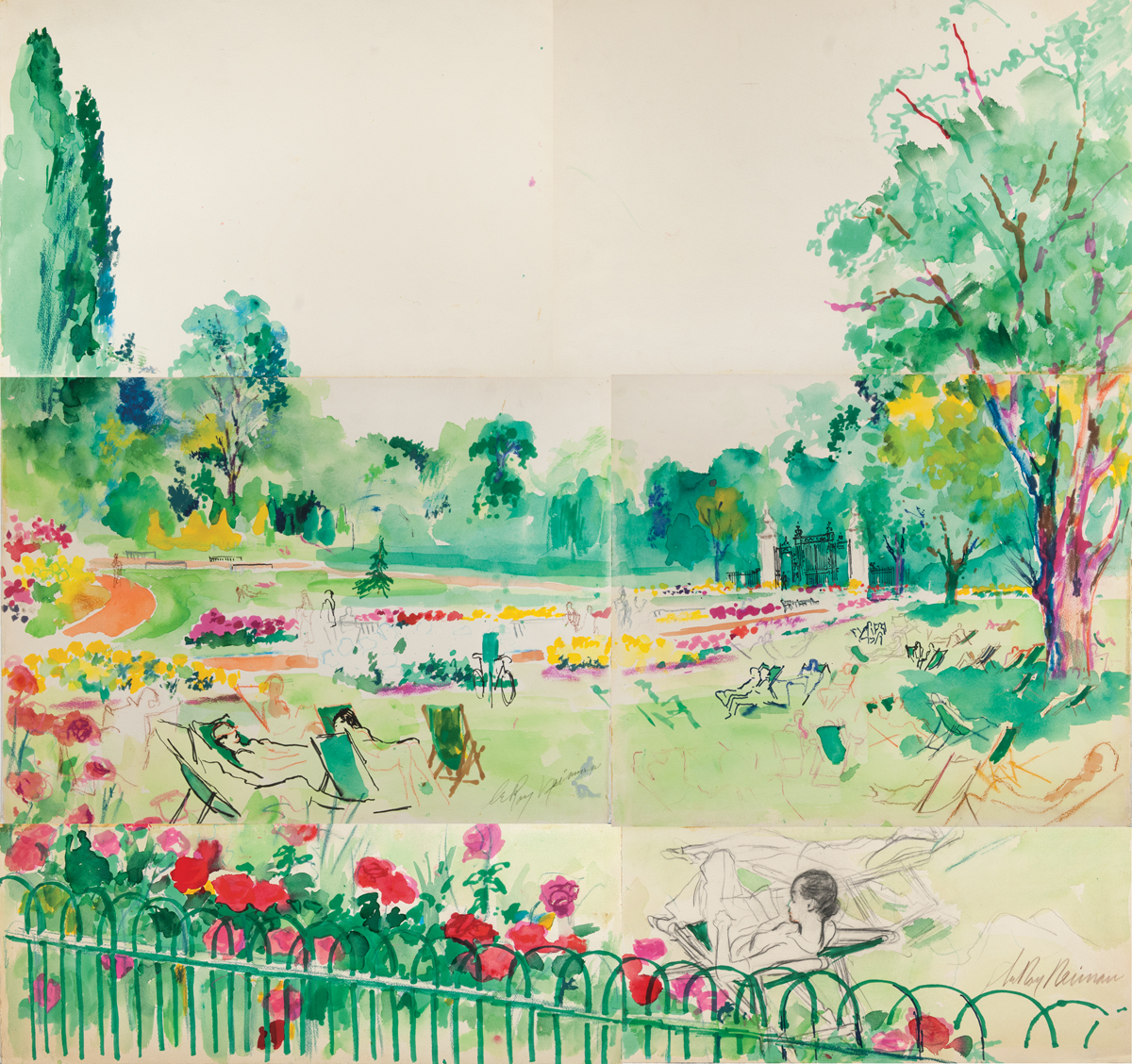 Janet in a London Park, Mixed Media on Paper, 40 X 36 in,