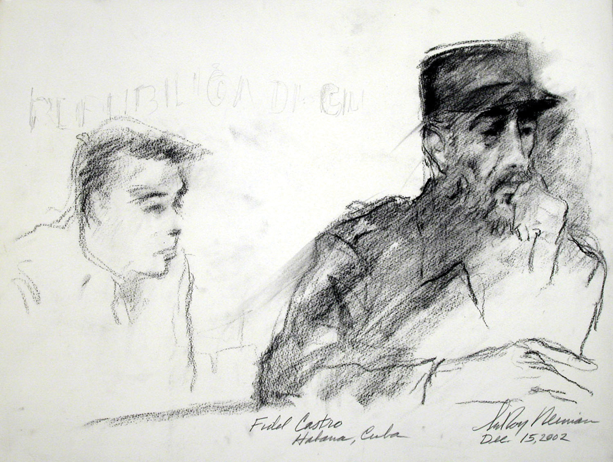 Fidel Castro and Aide, Charcoal on Paper, 17.75 X 23.5 in, 2002