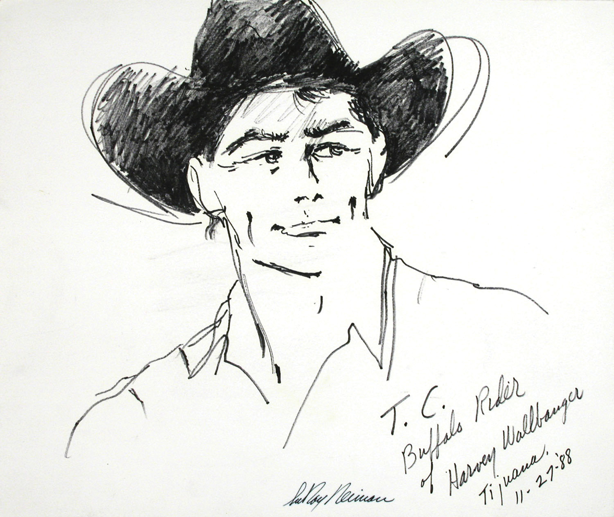 T.C. Buffalo Rider, Mixed Media on Paper, 12.75 X 15 in, 1988