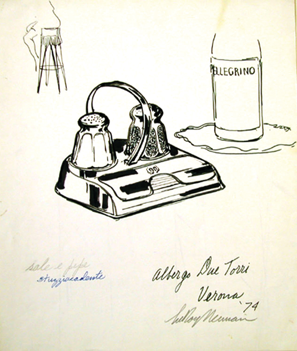 Salt and Pepper, Mixed Media on Paper, 14 X 12 in, 1974