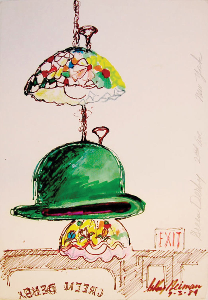 Green Derby, Mixed Media on Paper, 12.75 X 9 in, 1984