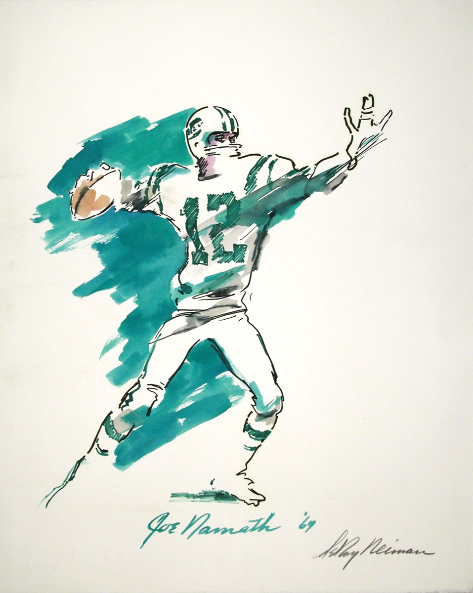 Joe Namath, Mixed Media on Paper, 22.25 X 17.75 in, 1969